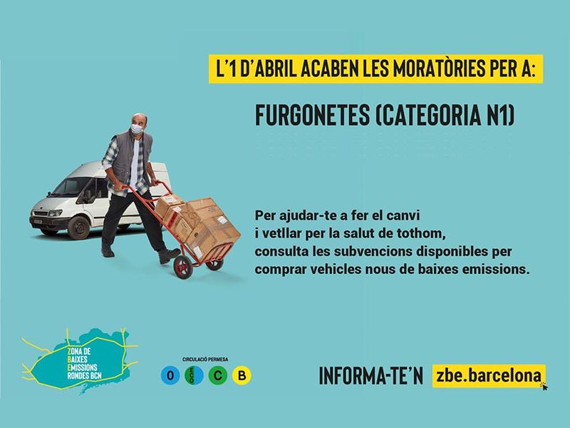 El 31 de marzo finaliza la moratoria de la ZBE RondasBCN para las furgonetas en las que no les corresponde la etiqueta ambiental